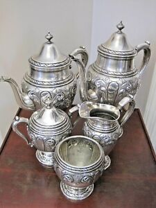 5-Pc-Amston-817-Pattern-Hand-Chased-Sterling-Tea-Coffee-Set