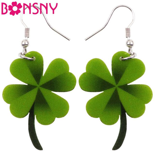 3cc9328984e82 Bonsny Four Leaf Clover Earrings Acrylic Drop Dangle Green Charm Women Girls