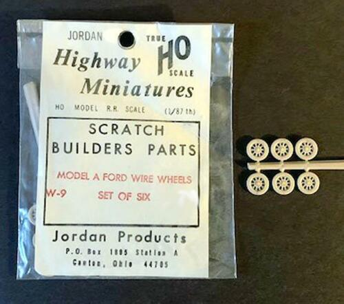 FORD Model A Wire Wheel Pack of 6 HO Scale Jordan Highway Miniatures parts