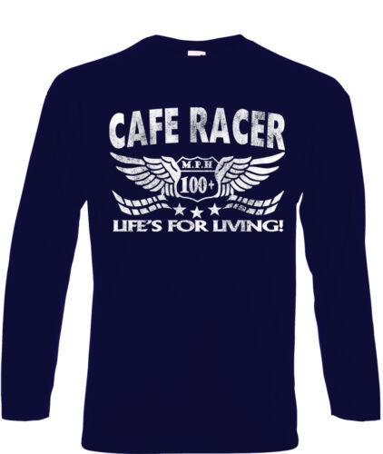 Cafe Racers T-Shirt Long Sleeve Aged Look Biker 60/'s Rock /& Roll Ace 50s Greaser