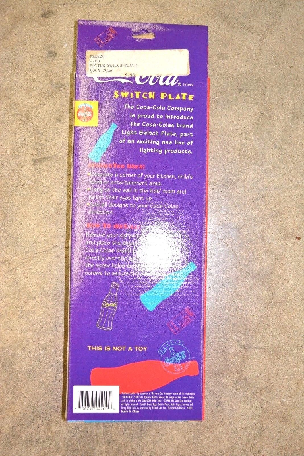 COCA-COLA Bottle Switch Plate Cover NEW Collectible Retro NIP New in Package