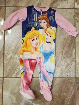 New Disney Princess Girls Footy Pajamas 24 Months Cinderella Belle Pink 1-piece