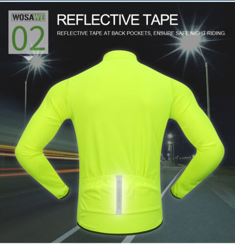 Mens Cycling Jerseys Windproof Half Zipper Sport Coat Reflective Breathable Tops