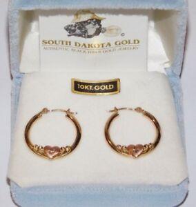 Image Is Loading Black Hills Gold 10 Kt Heart Hoop Earrings