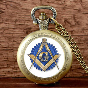 Steampunk-Masonic-Quartz-Pocket-Watch-Antique-Free-mason-Pendant-Necklace-Retro