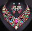 Fashion-Bib-Choker-Crystal-Pendant-Statement-Necklace-Earrings-Party-Jewelry-Set thumbnail 17