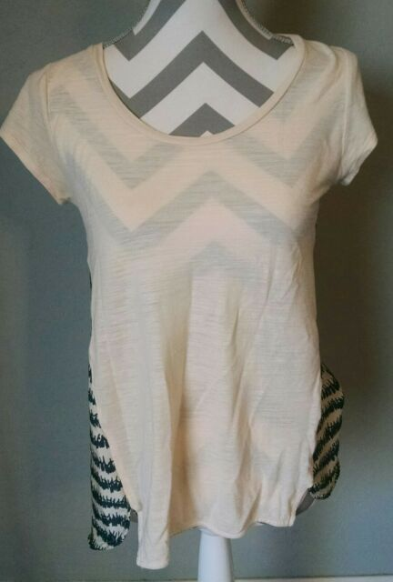 Anthropologie Deletta Woman's Pullover Top Small Contrast Fabric