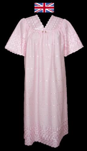 Broderie anglaise col v à manches courtes chemise de nuit jusqu/'à taille 28