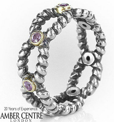 RETIRED!Pandora Ring-Silver and 14ct Gold with Pink Sapphire-190603PSA RRP£215!!
