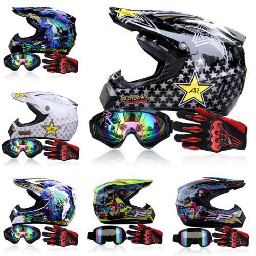 Gloves+Men Helmet+Goggles+Racing Helmets Skull Dirt Bike ATV Gear Motocross DOT
