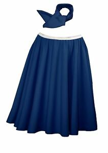 Ladies-22-034-Navy-Blue-Full-Cirlcle-Rock-N-Roll-Skirt-amp-Necktie-1960s-Fancy-Dress