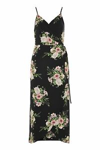 Topshop-Bouquet-Floral-Print-Strappy-Slip-Wrap-Midi-Dress-UK-6-8-EU-34-36-BNWT