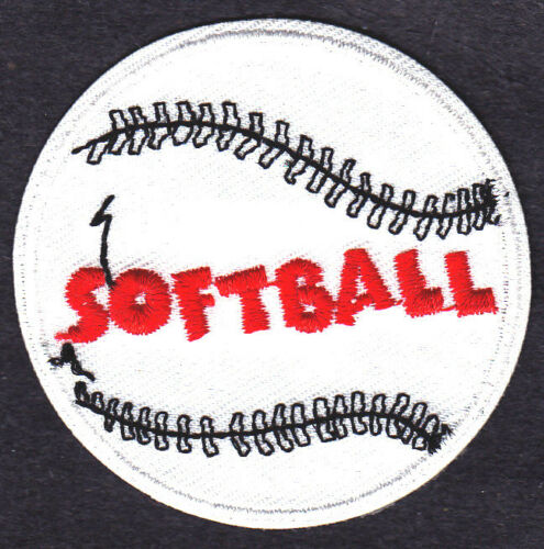 """Iron On Embroidered Applique-Sports /""""SOFTBALL/"""" WHITE w//BLACK /& RED Player"""