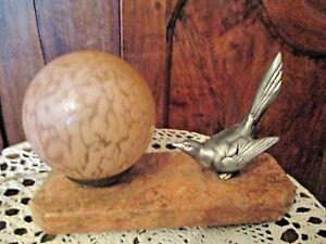 Ancienne-lampe-de-chevet-hirondelle-art-deco-veilleuse-boule-rose-verre-mouchete