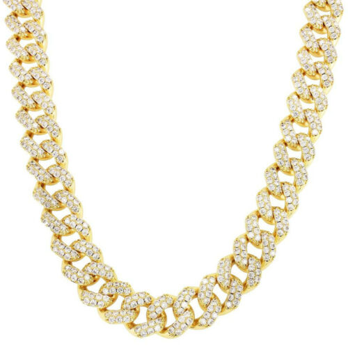 15mm Miami Cuban Link Chain 30ct Necklace 14K Gold Tone Iced Out Choker 18''