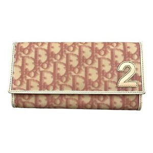 Christian Dior Trotter Logo Monogram Vintage Wallet Pink PVC Authentic