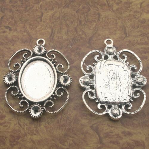 2pcs Tibetan Silve oval flower picture frame Charm pendants X0197