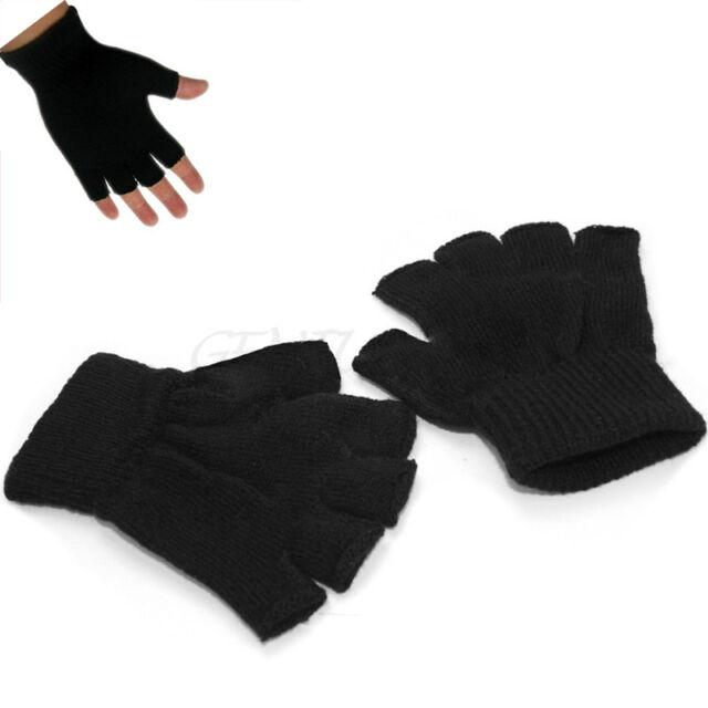 1pair Winter Men Black Knitted Stretch Fingerless Gloves Hand Cold ...