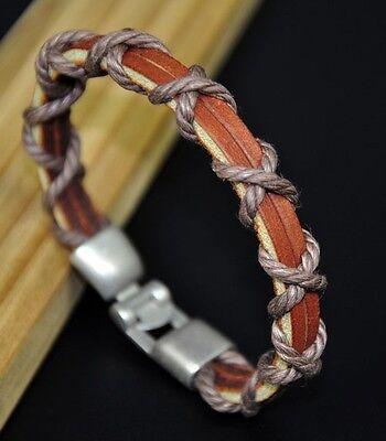 JS80 Classic Hemp Braid COOL Surfer Real Leather Bracelet Wristband Cuff Men's