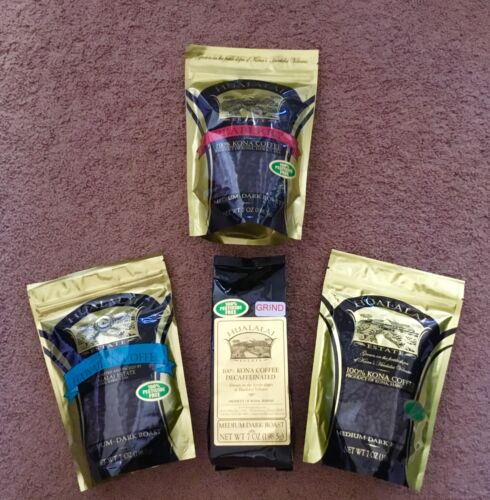 PESTICIDE FREE * 4 Bags HUALALAI ESTATE 100% KONA HAWAIIAN COFFEE PEABERRY DECAF