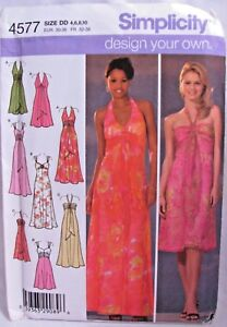 Halter-Dress-Sewing-Pattern-Bodice-Options-Sizes-4-10-Simplicity-4577-Long-Short