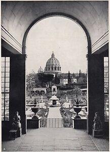 D2366-I-Giardini-del-Vaticano-Stampa-d-039-epoca-1925-vintage-print