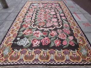Kilim-Old-Traditional-Hand-Made-European-Pink-Brown-Wool-Large-Kilim-370x225cm