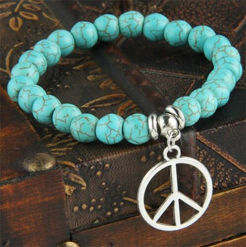 Womens Mens Turquoise Stone Bracelet Beads Chain Heart Dog Paws Charms Tree Gift