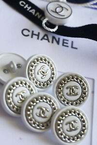 Authentic-Chanel-Buttons-6-pieces-white-silver-logo-cc