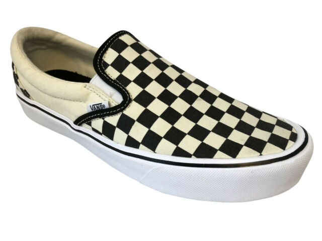 4ea5a0f26db2b8 VANS Slip on Lite Checkerboard Black classic White Men s Skate Shoes Size 10