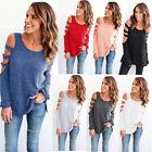 Women Cold Shoulder Long Sleeve Loose Jumper Tops Blouse Sweatshirt Pullover New
