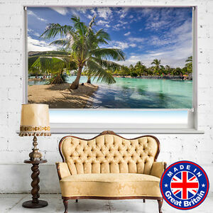 Tende A Rullo Stampate.Paradiso Tropicale Palm Beach Scene Stampate Foto Tende A Rullo