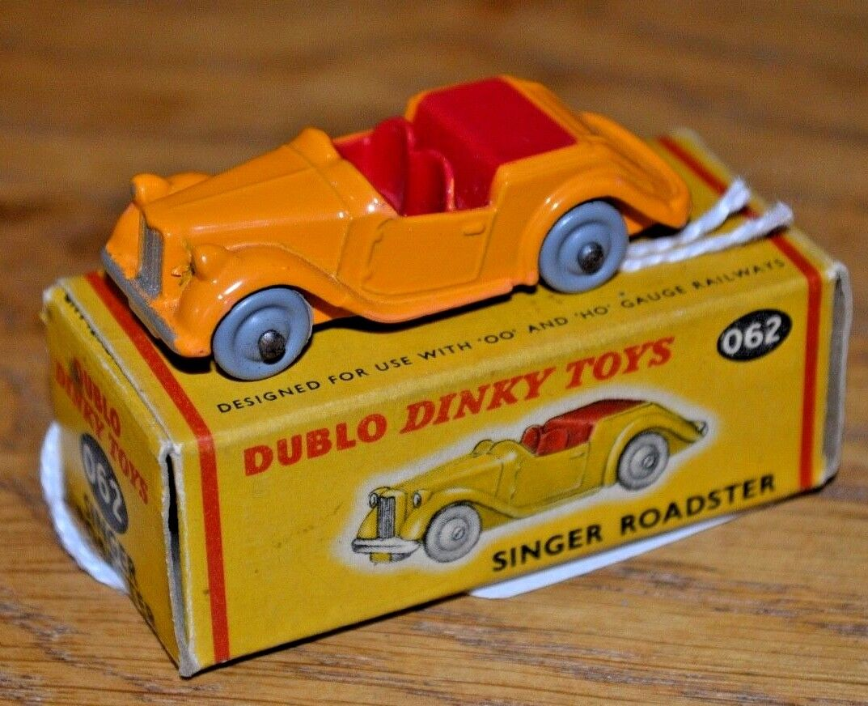 Dublo Dinky Toys 062 Singer Roadster; Yellow Red Near Mint; Original Box
