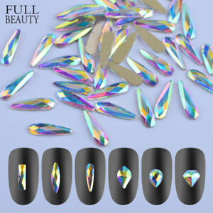 10/50 Pcs Wholesale 3D Nail Art Rhinestones Flat Shaped Elongated ...