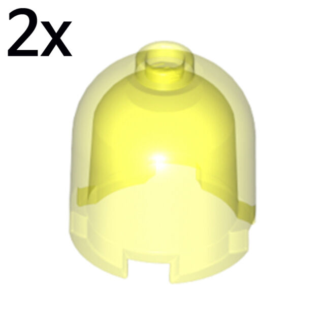 LEGO Lot of 2 Translucent Neon Green 2x2x1 2//3 Dome Brick Pieces