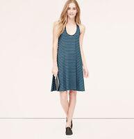 NWT Ann Taylor Loft Blue & Black Criss Cross Back Sleeveless Tank Dress $49 S-M