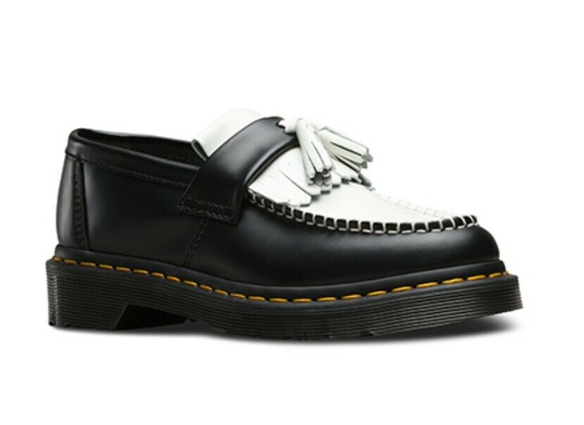 Dr Martens Women's Adrian Smooth Black & White Tassel Loafers. Size UK 6
