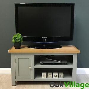 Grey Painted Small Tv Unit Oak Solid Wood Media Cabinet Tv Stand Greymore 4933963104361 Ebay