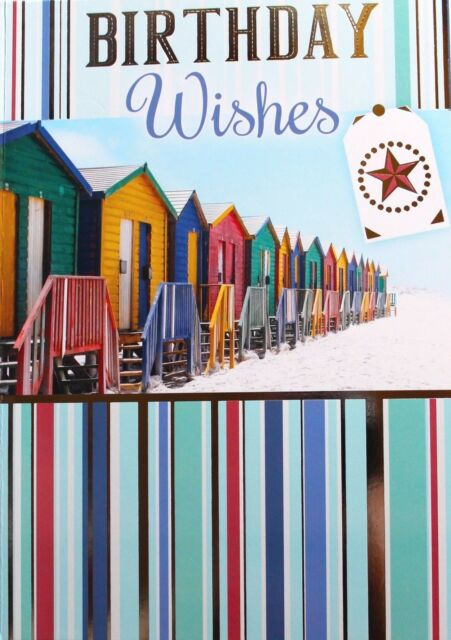Birthday Wishes Card Envelope Suitable For Any Age Male Beach Theme Brand New