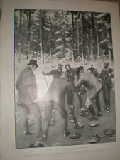 Sweep It Up! A Curling match in Scotland 1903 old print ref X