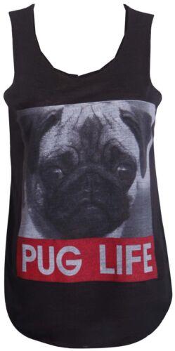 Womens Ladies Dog Pug Life Skull Print Stretch Sleeveless T-Shirt Vest Top 8 14