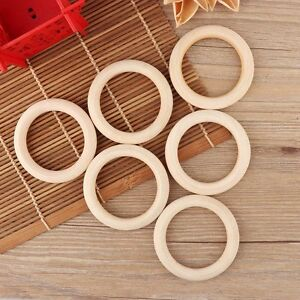 5pcs DIY 70mm Baby Wooden Teething Rings Necklace Bracelet Crafts Natural