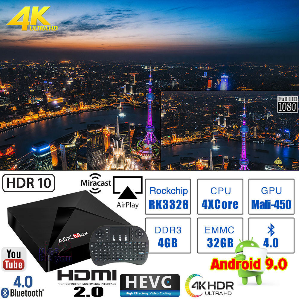 A5X MAX Android 9.0 4G 32G 4K TV Media BOX WIFI HDMI HDR + i8 USB Mouse Keyboard