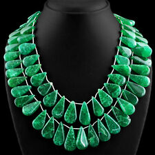 1058.00 CTS EARTH MINED 2 STRAND PEAR SHAPE GREEN EMERALD BEADS NECKLACE (DG)