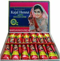 FRESH Box of 12 CONES DARK BROWN Henna Mehndi *NO CHEMICALS 100% NATURAL & SAFE*