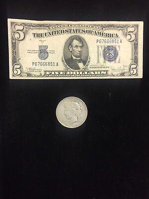 1953 $5.00 Silver Certificate Free Shipping 1 Silver Peace Dollar /& BONUS 1