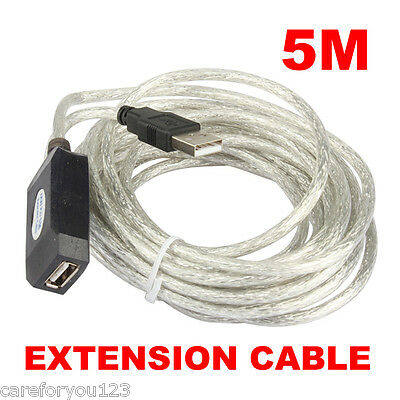 16ft 5M USB 2.0 Active Extension Repeater Cable Adapter For Laptop PC Computer