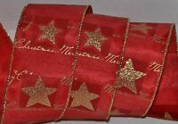 Wired Ribbon2.5merry Christmas Redholiday Gold Sparkle Starwreathgiftbow