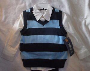 a11c00561a CHEROKEE 3pc Blue Navy Vest White Dress Shirt Navy Pants Outfit Set ...