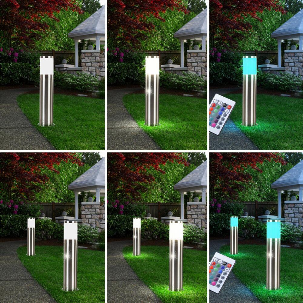 1x- 2x LED Außen Steh Leuchten Edelstahl Fernbedienung RGB Garten Big Light